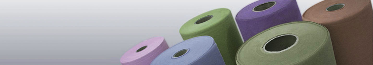 Large spools of colorful fabric